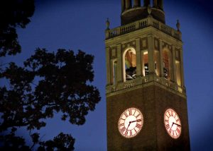 Bell Tower Lit at Night