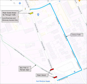 Map of Merritt Mill Road closure and detour